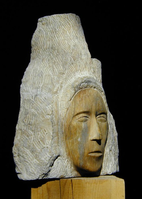 Sculpture Greeting Card featuring the sculpture Curandera by Manuel Abascal