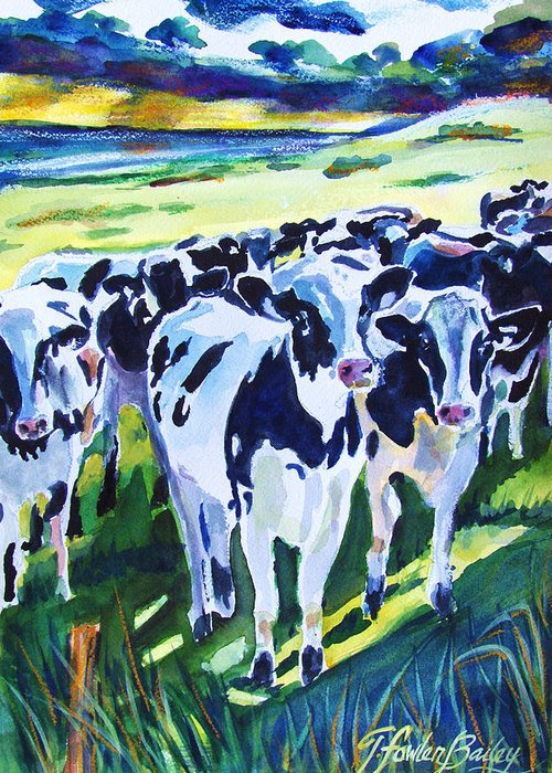Holstein Greeting Card featuring the painting Curiosity Cows Original Sold Prints Available by Therese Fowler-Bailey