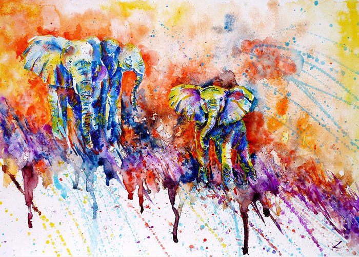 Elephants Greeting Card featuring the painting Curious Baby Elephant by Zaira Dzhaubaeva