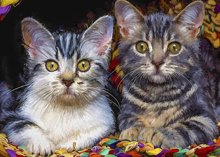 Cat Greeting Card featuring the painting Curious Kitties by David Wagner