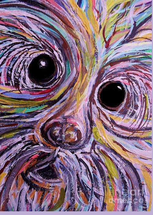 Schnauzer Greeting Card featuring the painting Curious Schnauzer by Eloise Schneider