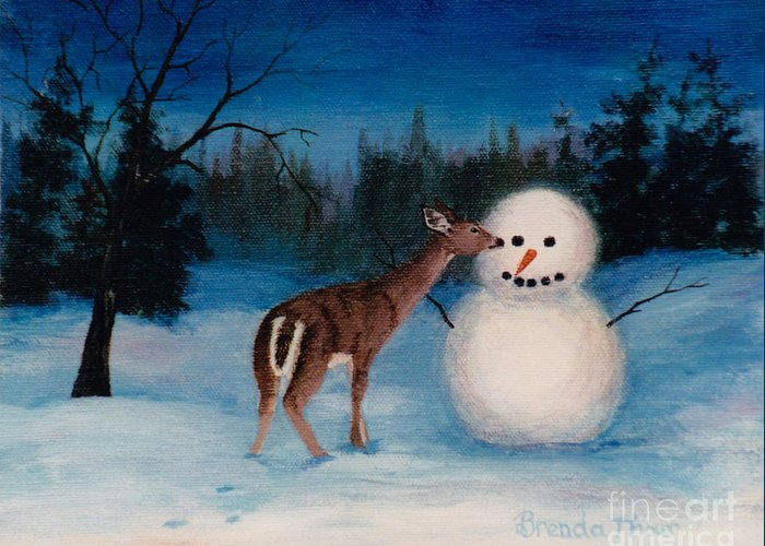 Snowman Snow Deer Mammal Animal Wildlife Winter Night Evening Painting Oil Art fine Art Canvas Ori Greeting Card featuring the painting Curiousity by Brenda Thour