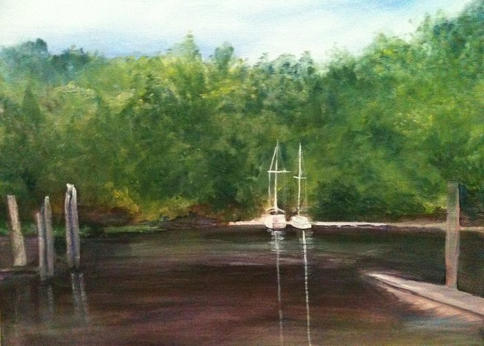 Plein Aire Greeting Card featuring the painting Curtain's Marina by Sheila Mashaw