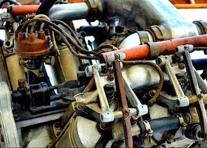 Airplane Engine Greeting Card featuring the photograph Curtiss Ox-5 Airplane Engine by Michelle Calkins