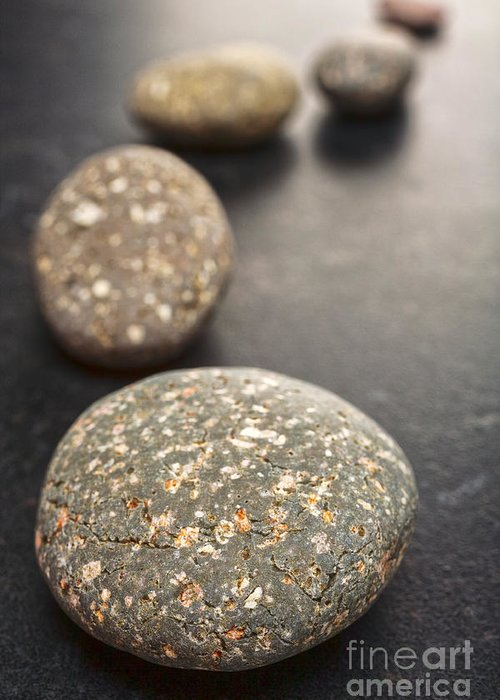 Stone Greeting Card featuring the photograph Curving Line Of Speckled Grey Pebbles On Dark Background by Colin and Linda McKie