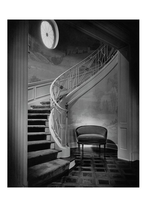 Interior Greeting Card featuring the photograph Curving Staircase In The Home Of W. E. Sheppard by Maynard Parker