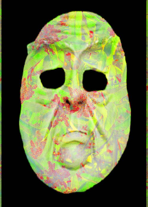 Abstract Greeting Card featuring the digital art Cut Out Mask by Jack Bowman