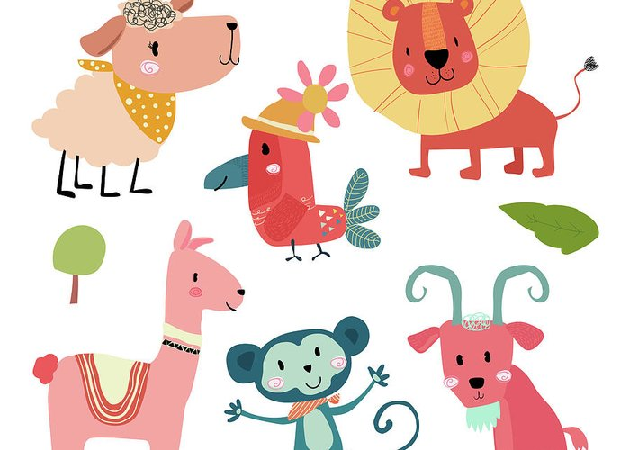 Pets Greeting Card featuring the digital art Cute Hand Draw Wild Animal Cartoon by Natsicha
