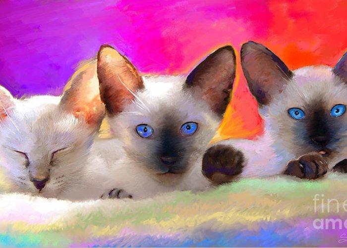 Animal Art Greeting Card featuring the painting Cute Siamese Kittens Cats by Svetlana Novikova