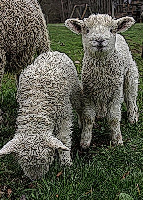 Ram Greeting Card featuring the digital art Cutest Lamb Ever by Jen Brooks Art