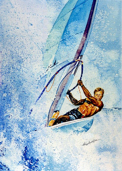 Wind Surfing Paintings Greeting Cards