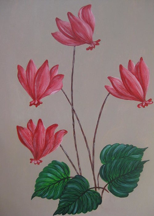 Floral Greeting Card featuring the painting Cyclamen by Swathi Kurunji