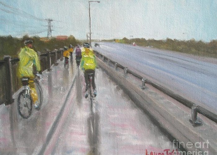 Bicycle Greeting Card featuring the painting Cycle Club by Laura Toth