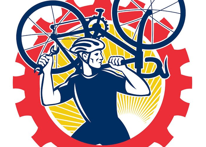 Cyclist Greeting Card featuring the digital art Cyclist Bicycle Mechanic Carrying Bike Sprocket Retro by Aloysius Patrimonio