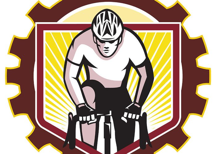 Cyclist Greeting Card featuring the digital art Cyclist Riding Bicycle Cycling Front Sprocket Retro by Aloysius Patrimonio