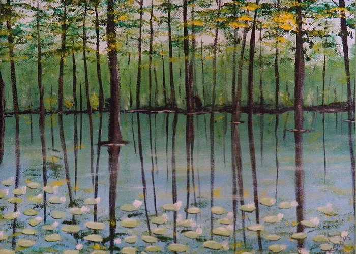Water Lilies And Cypress Trees Reflecting In The Still Waters. Greeting Card featuring the painting Cypress Garden by Richard Goohs