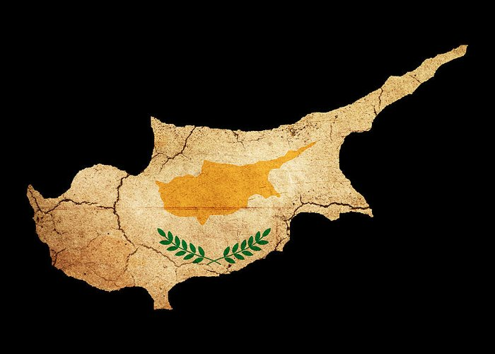 Flag Greeting Card featuring the photograph Cyprus Grunge Map Outline With Flag by Matthew Gibson