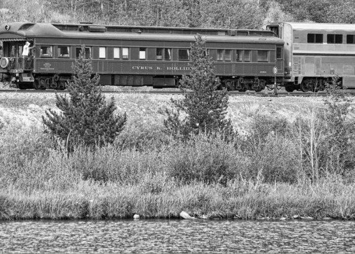 Cyrus K. Holliday Private Rail Car Greeting Card featuring the photograph Cyrus K Holliday Private Rail Car Bw by James BO Insogna