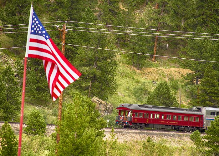 Cyrus K. Holliday Private Rail Car Greeting Card featuring the photograph Cyrus K. Holliday Rail Car And Usa Flag by James BO Insogna