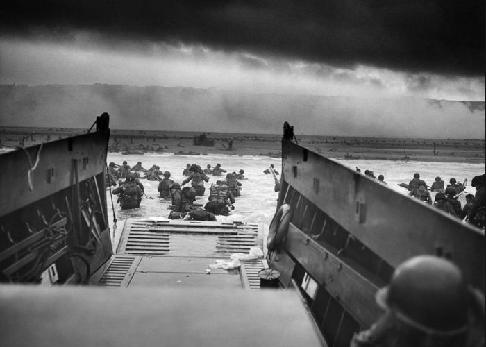 D Day Greeting Card featuring the photograph D-day Landing by War Is Hell Store