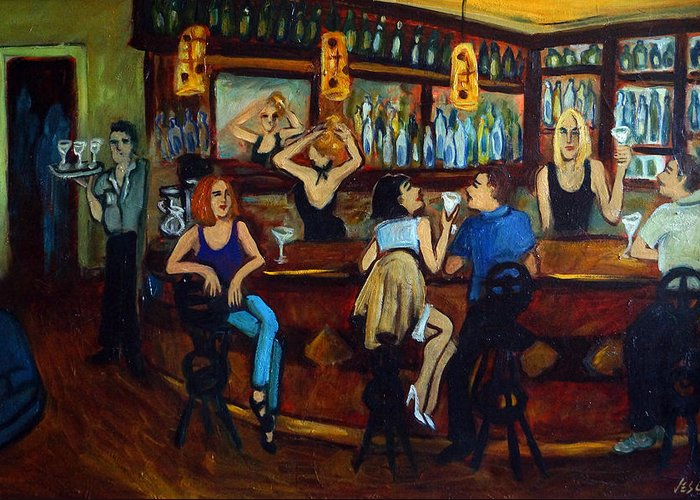 Restaurant Greeting Card featuring the painting Da Da by Valerie Vescovi