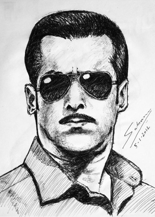 Salman Khan Dabanng 2 Bollywood India Sketch Movies Portrait Pen Ink Paper Greeting Cards
