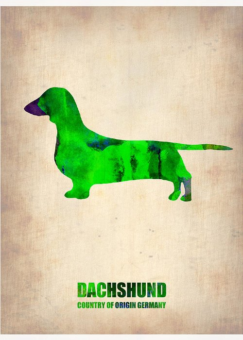Dachshund Greeting Card featuring the painting Dachshund Poster 1 by Naxart Studio