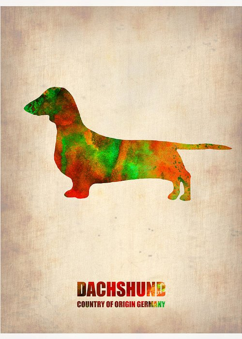 Dachshund Greeting Card featuring the painting Dachshund Poster 2 by Naxart Studio