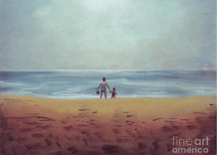 Daddy Greeting Card featuring the drawing Daddy At The Beach by Samantha Geernaert