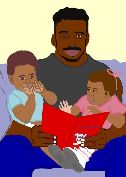 Dad Greeting Card featuring the painting Daddy's Bundles by Pharris Art