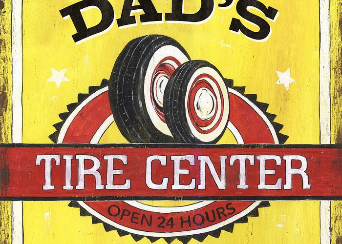 Dad Greeting Card featuring the painting Dad's Tire Center by Debbie DeWitt
