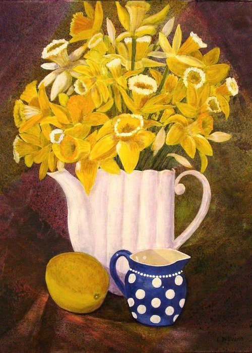 Flowers Greeting Card featuring the painting Daffies by Lynda Evans
