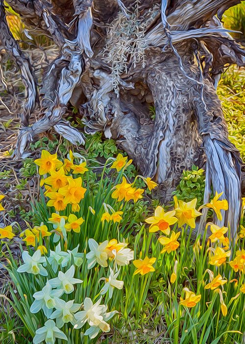 North Cascades Greeting Card featuring the painting Daffodils And Sculpture by Omaste Witkowski