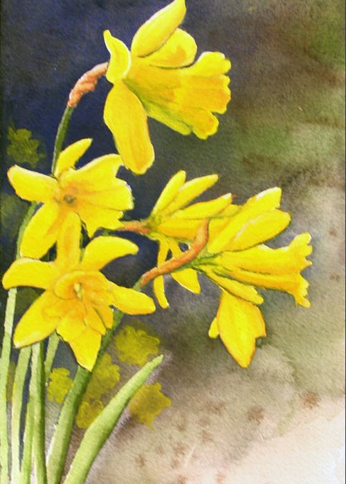 Rick Huotari Greeting Card featuring the painting Daffodils by Rick Huotari