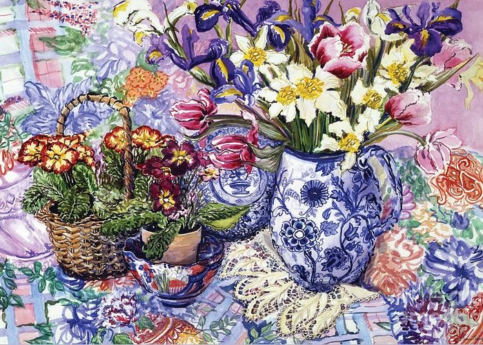 Daffodils; Daffodil; Tulips; Tulip; Iris; Irises; Jacobean Blue And White Jug; Blue And White Jug; Jug; Jugs; Jacobean Jug; Sanderson Fabric; Primroses; Primrose; Basket; Still Life; Bright; Colourful; Table; Table Cloth; Still-life Greeting Card featuring the painting Daffodils Tulips And Iris In A Jacobean Blue And White Jug With Sanderson Fabric And Primroses by Joan Thewsey