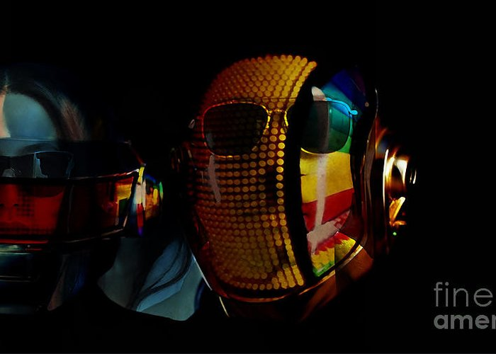 Tron Paintings Mixed Media Greeting Card featuring the mixed media Daft Punk Pharrell Williams by Marvin Blaine