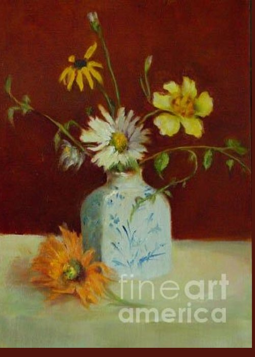 Floral Greeting Card featuring the painting Dahlias In Delft         Copyrighted by Kathleen Hoekstra