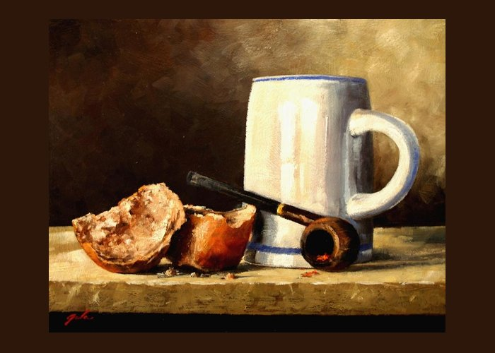 Still Life Greeting Card featuring the painting Daily Bread #3 by Jim Gola