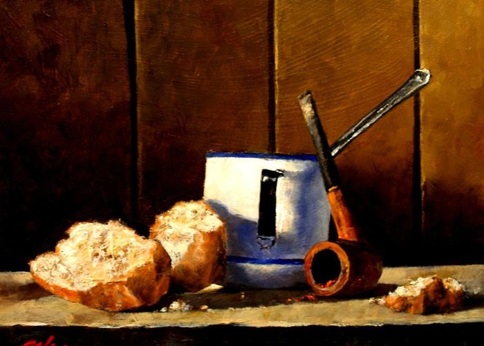 Still Life Greeting Card featuring the painting Daily Bread Ver 1 by Jim Gola