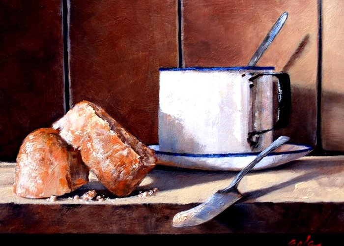 Still Life Greeting Card featuring the painting Daily Bread Ver 2 by Jim Gola