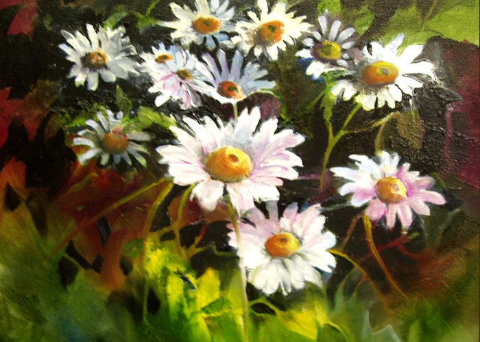 Flowers Greeting Card featuring the painting Daisies by Robert Carver