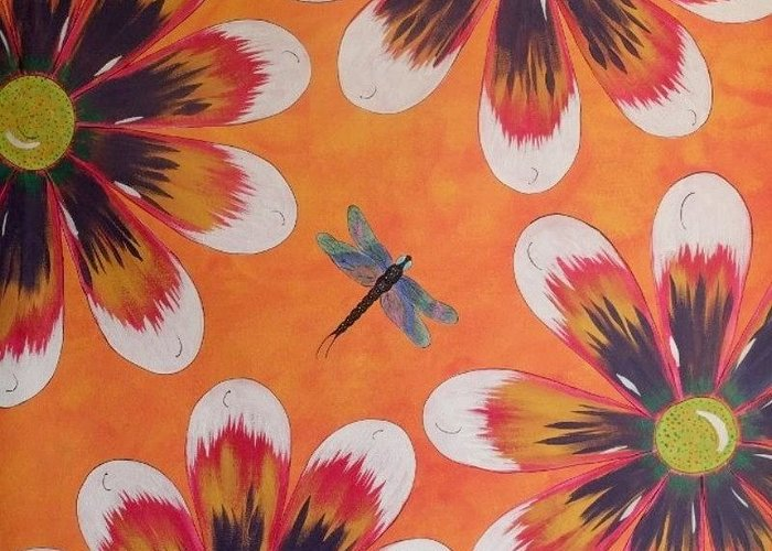 Daisy Greeting Card featuring the painting Daisy And Dragonfly by Cindy Micklos