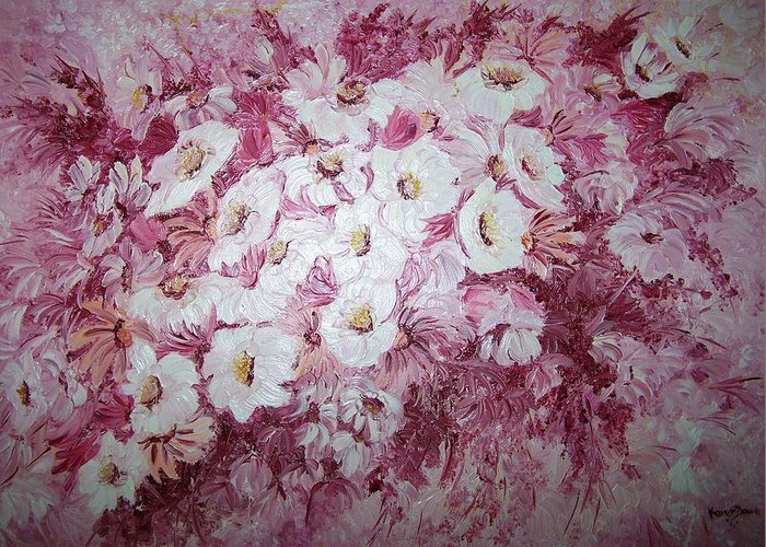 Greeting Card featuring the painting Daisy Blush by Karin Dawn Kelshall- Best