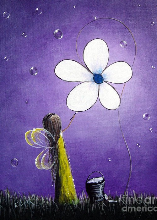 Fairy Greeting Card featuring the painting Daisy Fairy By Shawna Erback by Shawna Erback