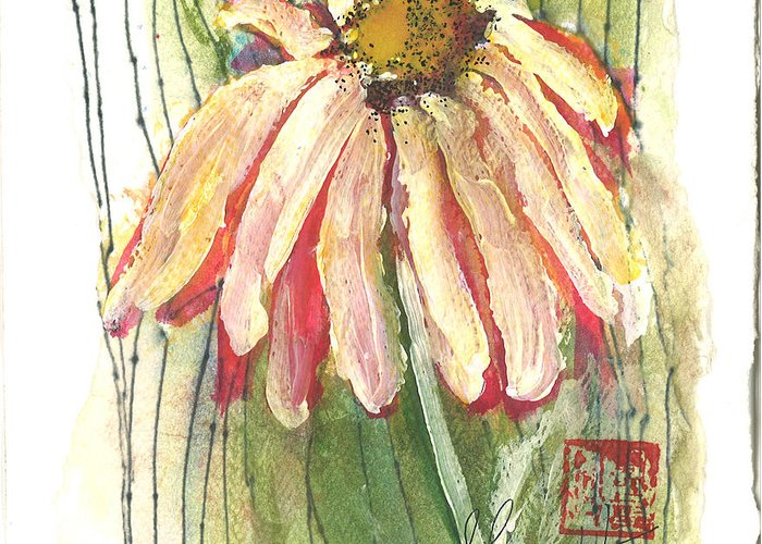 Orchards Greeting Card featuring the painting Daisy Girl by Sherry Harradence
