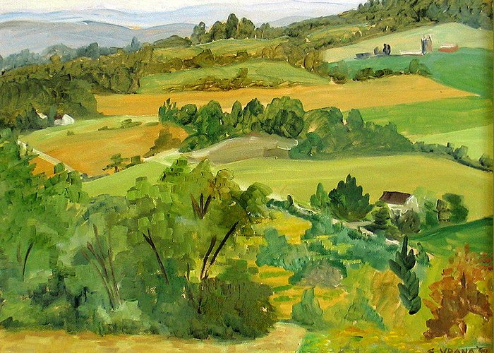 View From Daisy Hollow Greeting Card featuring the painting Daisy Hollow Dryden New York by Ethel Vrana