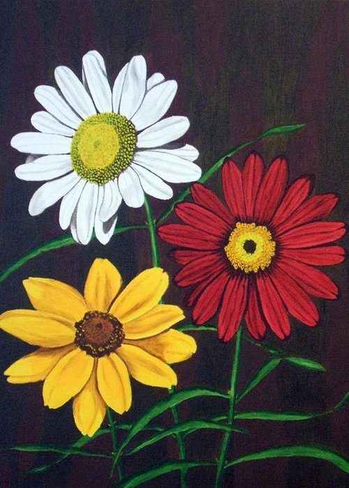 Daisy Flowers Greeting Card featuring the painting Daisy Mae by Brandy House
