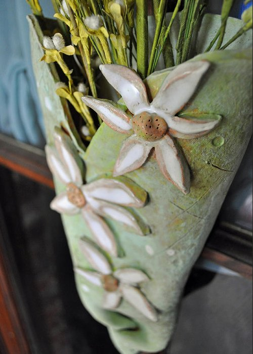 Daisy Greeting Card featuring the sculpture Daisy Wall Door Vase by Amanda Sanford