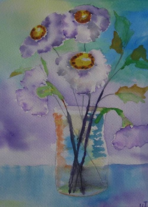 Floral Watercolor Greeting Card featuring the painting Daisy by Warren Thompson