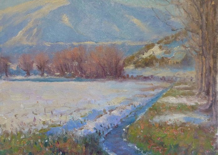 Landscape Greeting Card featuring the painting Dalefield. Queenstown Nz. by Terry Perham